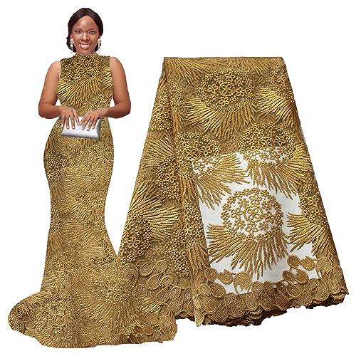 e3e5bca6c49 pqdaysun African Lace Fabric 5 Yards 2018 Nigerian Lace Wax Fabric French  Lace Fabric F50614 (