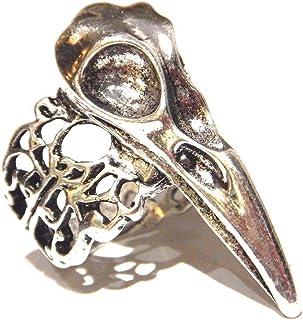 Silvertone Crow Skull Ring US Size 7.5 Filigree Raven Bird Animal Gothic Unisex Finger Ring