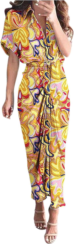 Women's Elegant Dress Casual V-Neck Shirt Tie Short Sleeve Irregular Hem Dress