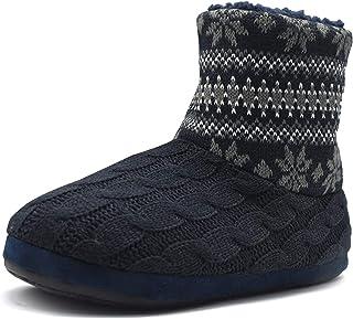 COFACE Zapatillas Interiores Antideslizantes Forradas de Piel sintética de Punto para Hombre Zapatillas de casa con Botine...