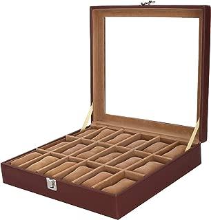 Leather World Brown PU Leather 18 Watch Box Watch Case Watch Organizer Watch case for Men