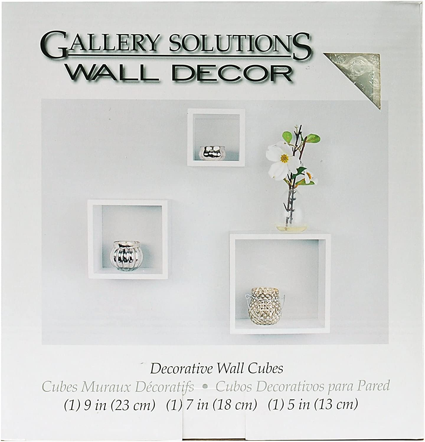 Gallery Solutions 3-Piece Ranking TOP15 Nested Popular White Set Cubes Wall