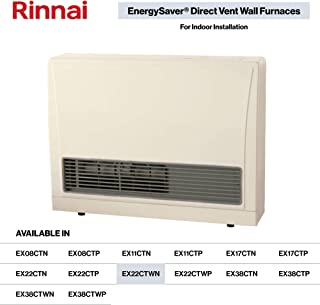 Rinnai EX22CT Direct Vent Wall Furnace, EX22CTWN-Natural Gas/White