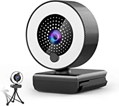 Streaming Webcam with Microphone & Ring Light 2K HD Web Cam with Cover,Stand for PC/MAC/Laptop/Desktop, Wide Angle Web Cam...