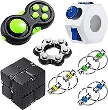 7 Pieces Handheld Fidget Toy Set Including Six Roller Chain Fidget, Key Flippy Chain, Infinity Cube, Fidget Sensory Ring, ...