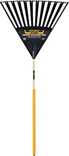 True Temper 2914912 Clog Free Poly Leaf Rake with 48 in. Hardwood Handle with Cushion Grip, 24 Inch, Brown
