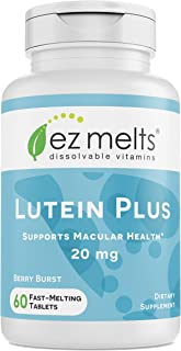EZ Melts Lutein Plus with Zeaxanthin and Zinc, 20 mg, Sublingual Vitamins, Vegan, Zero Sugar, Natural Berry Flavor, 60 Fas...