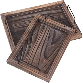 RHF Serving Trays,Vintage Serving Tray,Rustic Wood Trays,Rectangular Tray Set,Nesting Serving Tray,Butler Lap Trays with Metal Handles,Rustic Ottoman Tray, Brown, Set of 2