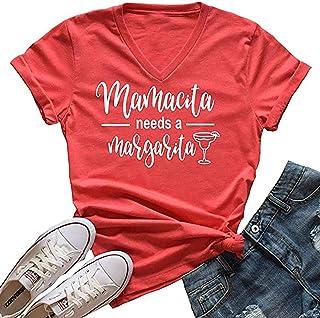 Mamacita Needs a Margarita T Shirt Women Drinking Graphaic Shirts Letter Print Mamacita Cute Tee Tops Shirt