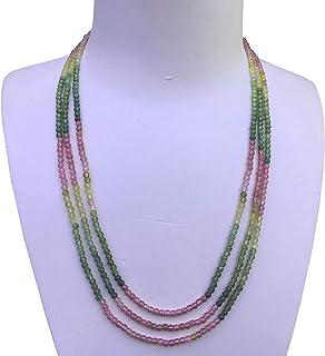 Elegant 45+48+50cm Three Strands 3mm Natural Colorful Tourmaline Necklace 112#
