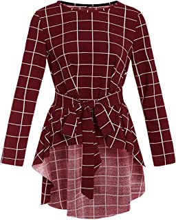 Romwe Women's Raw Hem Long Sleeve Belted Flare Peplum Blouse Shirts Top