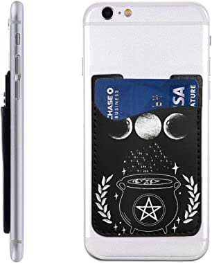 Cauldron Wicca Star Pentagram Triple Moon PU Leather Business Id Card Package RFID Credit Card Holder Clip Sleeve Wallet for