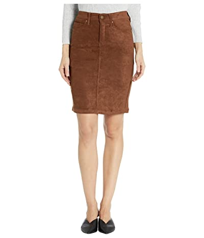 Liverpool Pencil Skirt in a Stretch Faux Suede (Chocolate Brown) Women