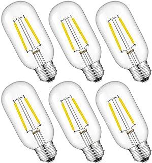 CRLight LED Tubular Edison Bulb 4000K Daylight White, 30W Equivalent 300 Lumens, 2W Dimmable E26 Base Antique T14(T45) Clear Glass Tubular LED Filament Bulbs, 6 Pack