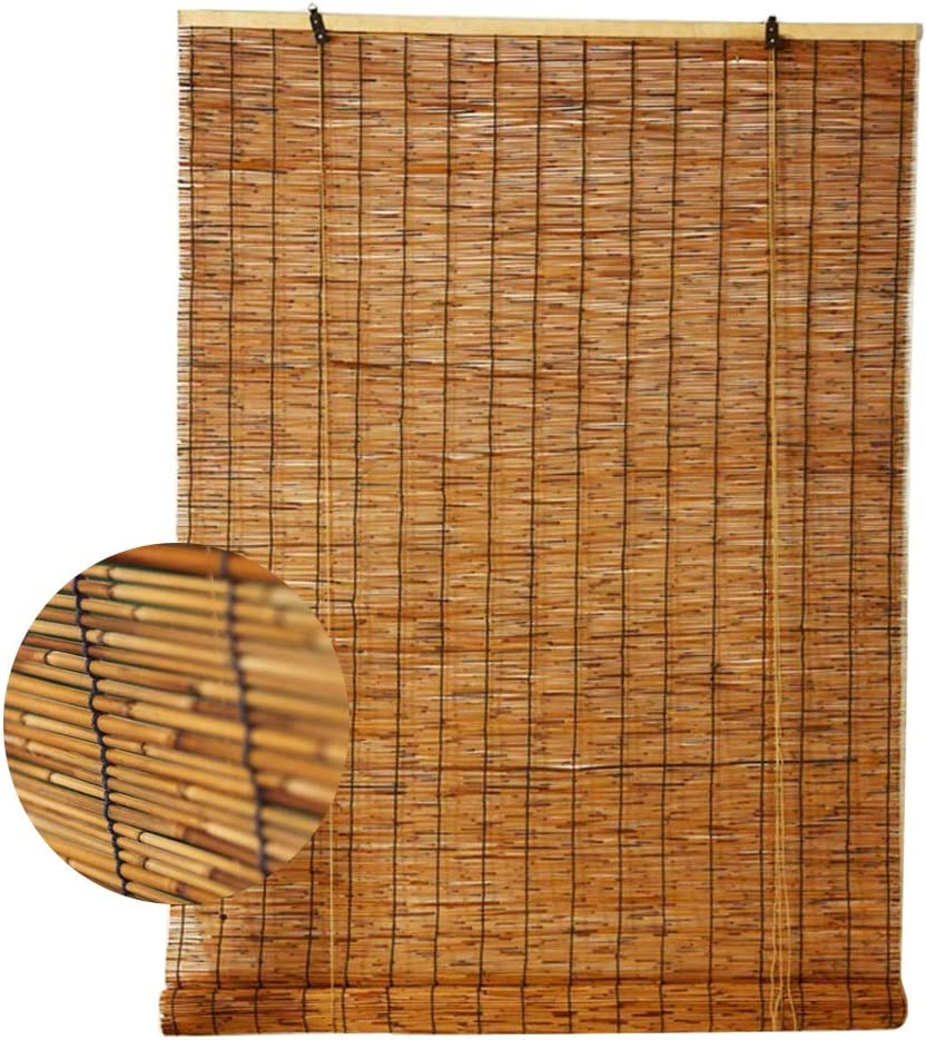 NIANXINN Bamboo Blinds Natural Reed Curtain Roller Blind,Living Room Tea Room Shop Decoration Shading Partition Vintage Straw Curtain, Waterproof and Dustproof,for Outdoor Indoor(50x60cm/20x24in)