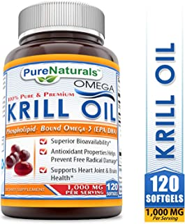 Pure Naturals 100% Pure & Premium Omega Krill 1000 Mg Per Serving 120 Soft gels - Superior Bio-availability* Antioxidant Properties Helps Prevent Free Radical Damage