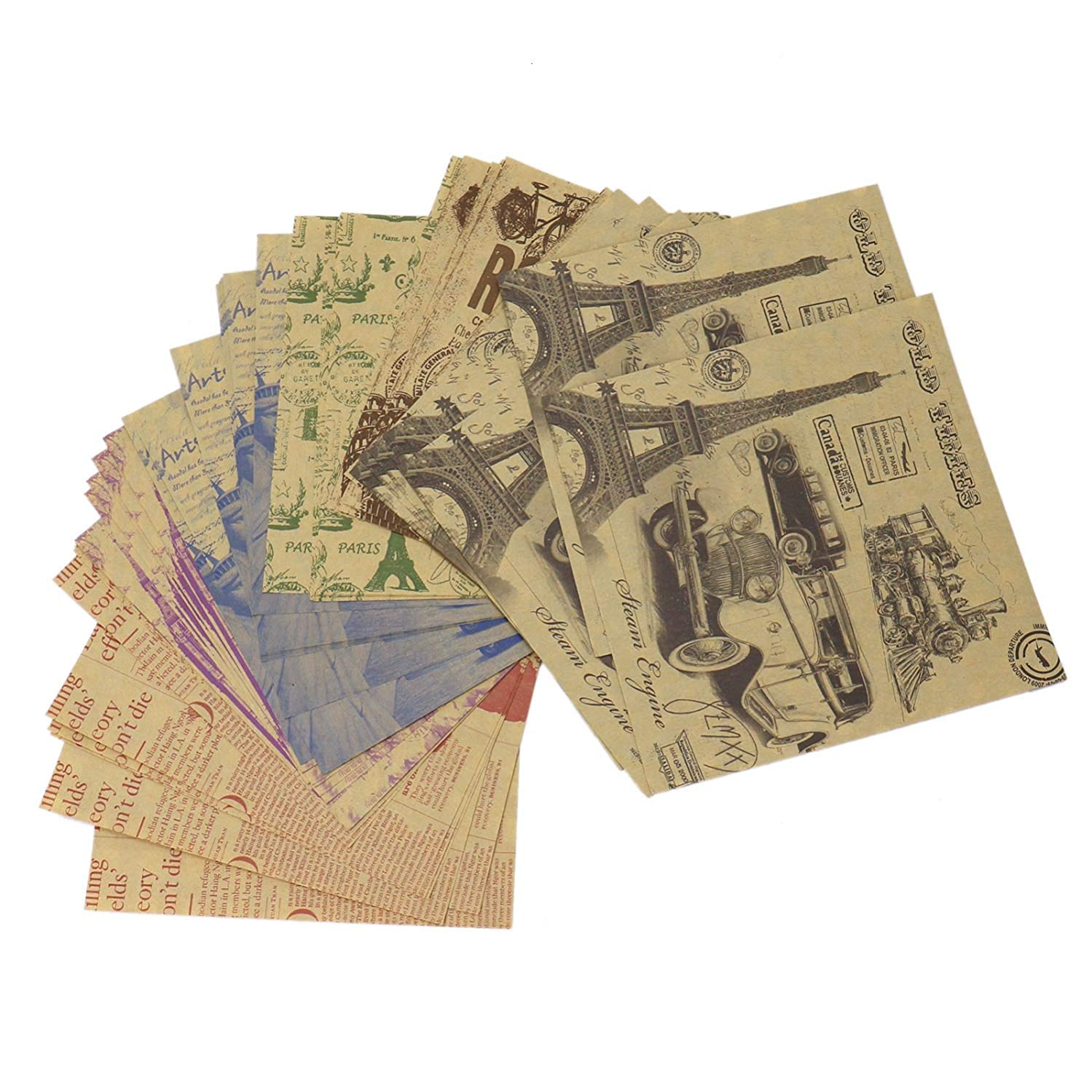 Monrocco 120 Sheets Vintage Pattern Origami Paper,6'' Inches Double Sided Colors Origami Paper for Arts and Crafts