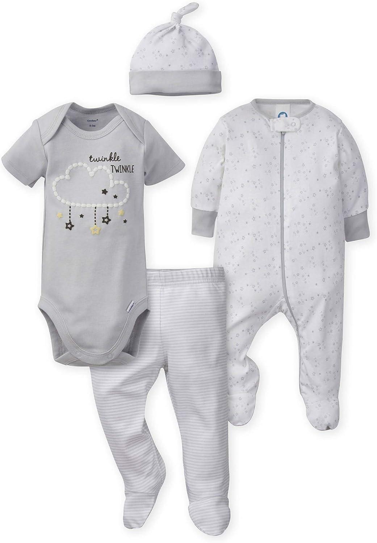 Gerber Baby 4-Piece Sleep 'N Play, Onesies, Pant and Cap
