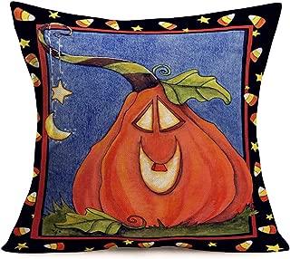 Hopyeer Happy Halloween Pumpkin Decor Throw Pillow Covers Retro Smiling Face Funny Pumpkin Farm TrickorTreat Candies Pillowcase Cotton Linen Cushion Cover for Sofa Couch 18