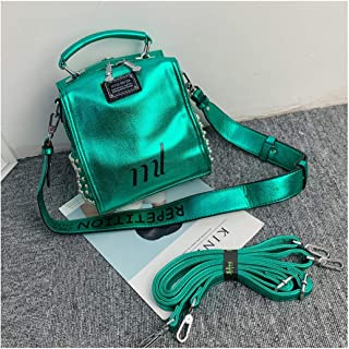 YXWL Travel Backpack, Student Backpack Shoulder Bag, Go Out to Play Shoulders, High-end Western-Style Texture Silver Bag Slung 2019 New Female (Color : Green)