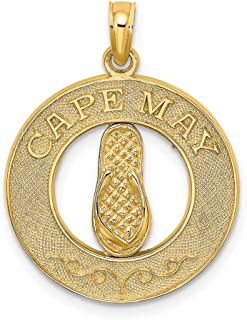 14k Yellow Gold Cape May On Round Frame Flip Flop Pendant Charm Necklace Travel Transportation Fine Jewelry Gifts For Women For Her