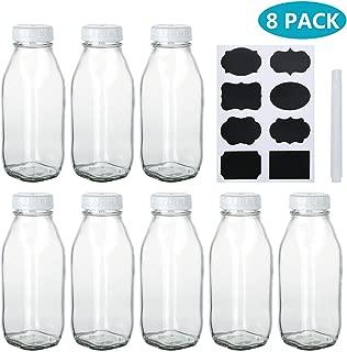 Encheng 17 oz Glass Bottle with Lids,Clear Milk Bottles with Plastic Caps,Vintage Drinking Bottles for Party,Kids Breakfast,Beverage Bottles for Storing Juice,Water with Chalkboard Labels,Pen,8 Pack