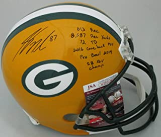 Packers Jordy Nelson Autographed Signed Riddell Full Size Replica Helmet Auto with Stats JSA