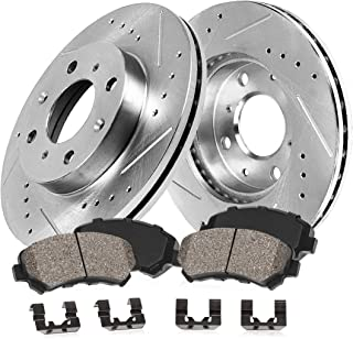 Callahan CDS02377 FRONT 256mm D/S 4 Lug [2] Rotors + Ceramic Brake Pads + Hardware [ for Chevy Cobalt Saturn Ion G5 ]