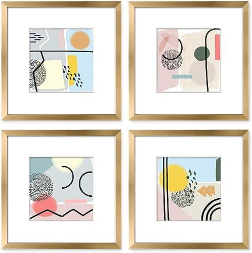 ArtbyHannah Juego de 4 marcos de fotos dorados de 30,5 x 30,4 cm para decoración de pared