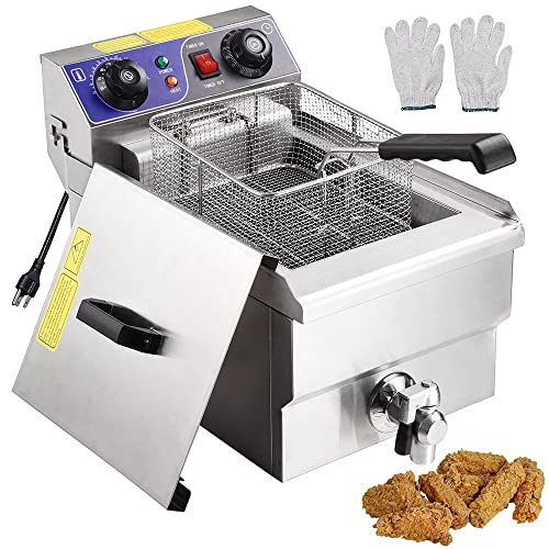 Yescom Commercial Professional Electric 11.7L Deep Fryer Timer and Drain Stainless Steel French Fry Restaurant