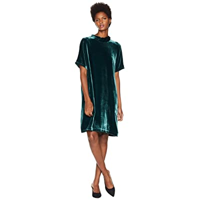 Eileen Fisher Velvet Mock Neck Short Sleeve Dress with Back Tie (Pine) Women