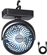 REENUO 5000mAh Camping Fan with LED Lights, 40 Hours Max Working Time Tent Fan with..