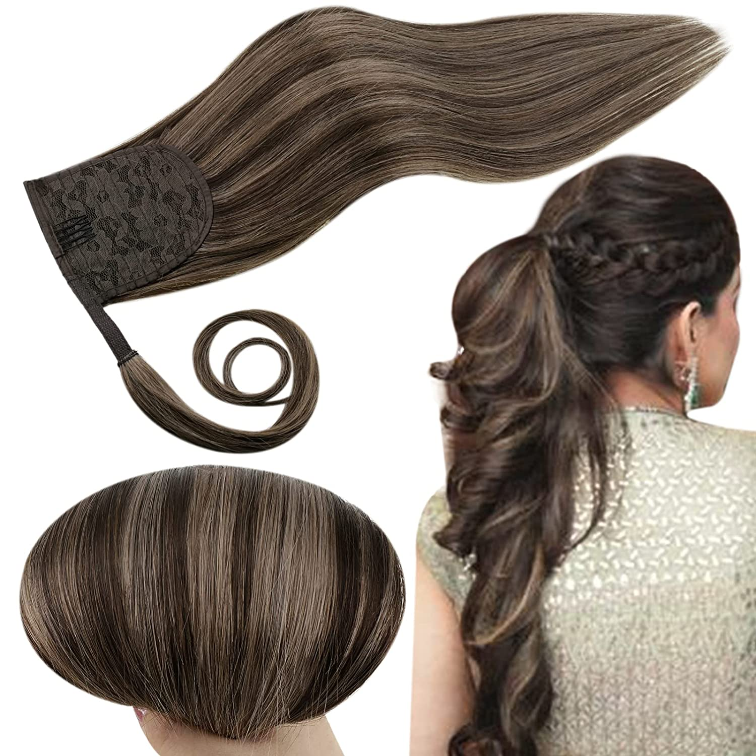RUNATURE Max 49% OFF Hair Extensions Ponytail Highlights Darkest Cheap mail order specialty store Brown 2P8A