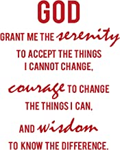 Serenity Prayer Bible Verses Inspirational Wall Quote: Removable Christian Scripture Inspired Vinyl Decal Decor and Art Quotes. A Word of God Lettering Sticker Artwork - RED