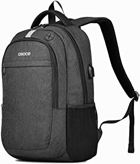 Business Backpacks Up to 15.6'' Laptop,OSOCE Waterproof Bag USB Charging Cable&Headphone Interface(Black)