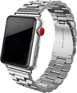 SWEES Stainless Steel Metal Bands Compatible with Apple Watch 42mm 44mm Series 5 Series 4 Series 3 Series 2 Series 1 Sport Edition, Replacement Link Strap Double Button Butterfly Folding Clasp, Silver