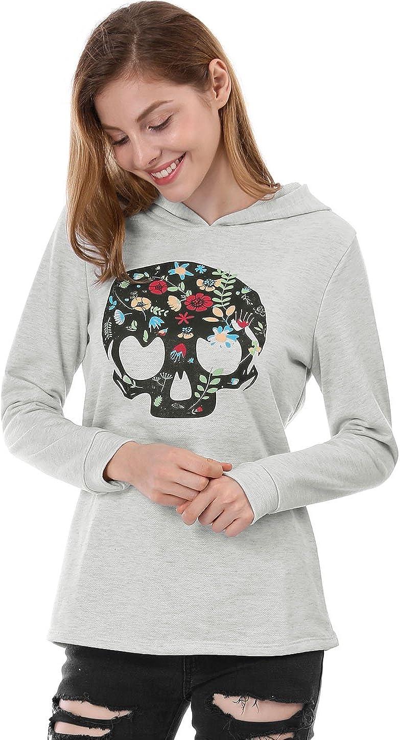 Allegra K Women's Floral Sugar Skulls Pullover Hoodie Gothic Boston Mall Sale item