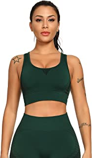 Sports Wirefree Bras for Women Seamless High Impact Support Yoga Bra with Removable Pads Bounce Control Racerback Top