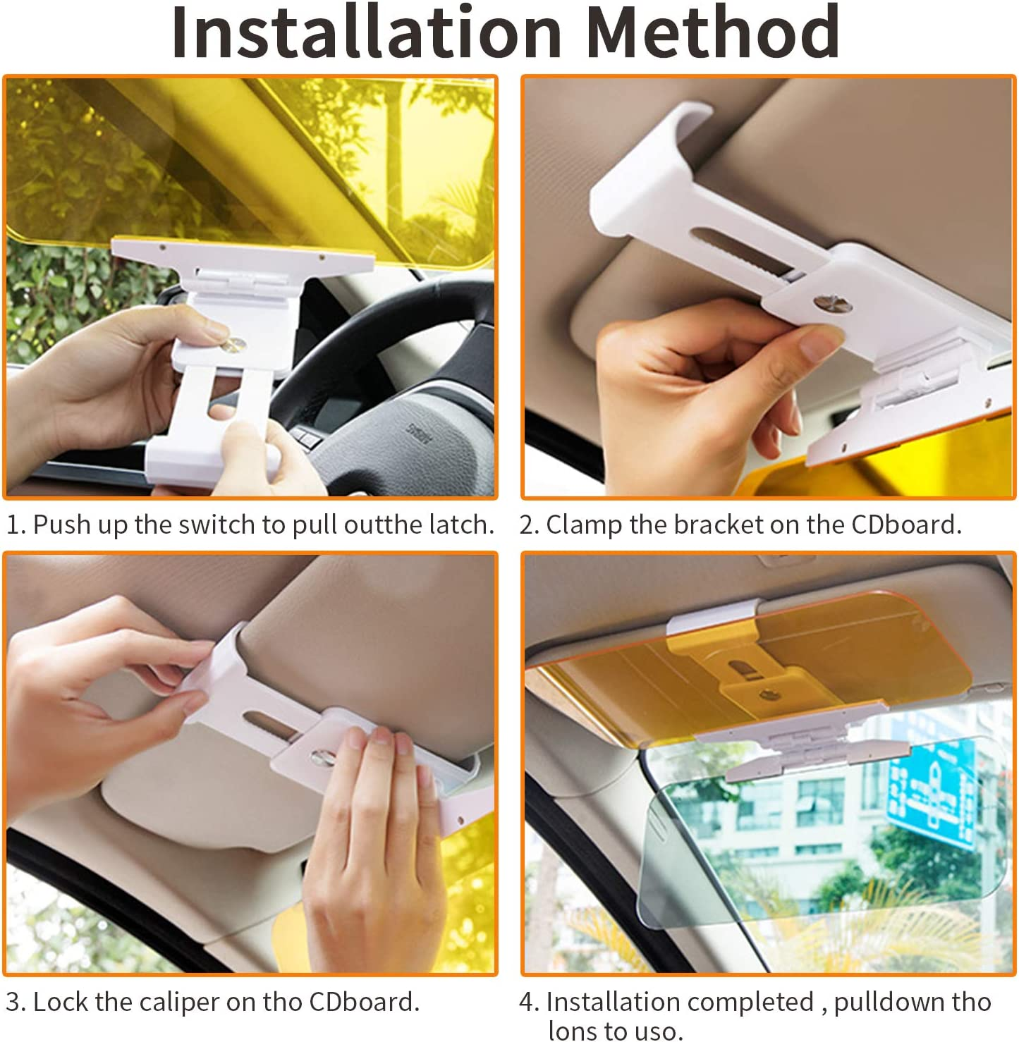 Car Sun Visor,Night Anti-Glare Visor 2 in 1 Sun Anti-UV Block Windshield Mirror Interior Kits Anti-Dazzle Goggles