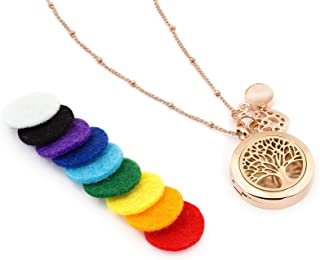 Rose Gold Tree of Life Essential Oil Diffuser Necklace – Aromatherapy Jewelry - Hypoallergenic 316L Surgical Grade Stainless Steel, 20.8
