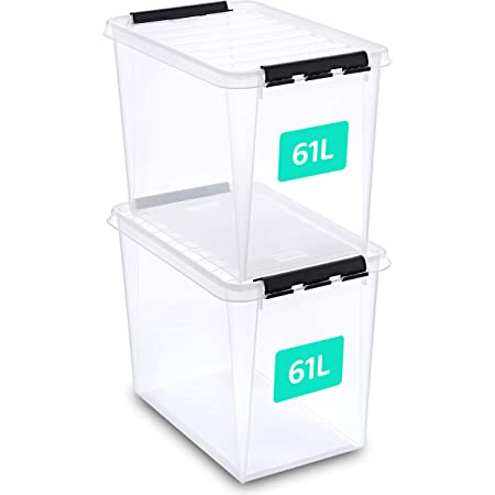 Boite rangement SmartStore Lot de 2 boites rangement plastique 61 l, bac plastique avec couvercle, verrouillables, empilables et emboîtables, sans BPA, 50 x 39 x 26 cm