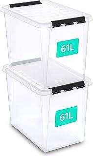 SmartStore Lot de 2 boîtes de rangement 61 l renforcées en plastique, transparentes et pouvant servir pour ranger les alim...