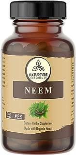 180 Capsules Organic Neem –100% Organic Neem Leaf Powder, 600mg Per Serving | Veg Capsules…
