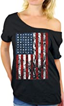 Awkwardstyles American Flag Distressed Off Shoulder Tops T-Shirt + Bookmark