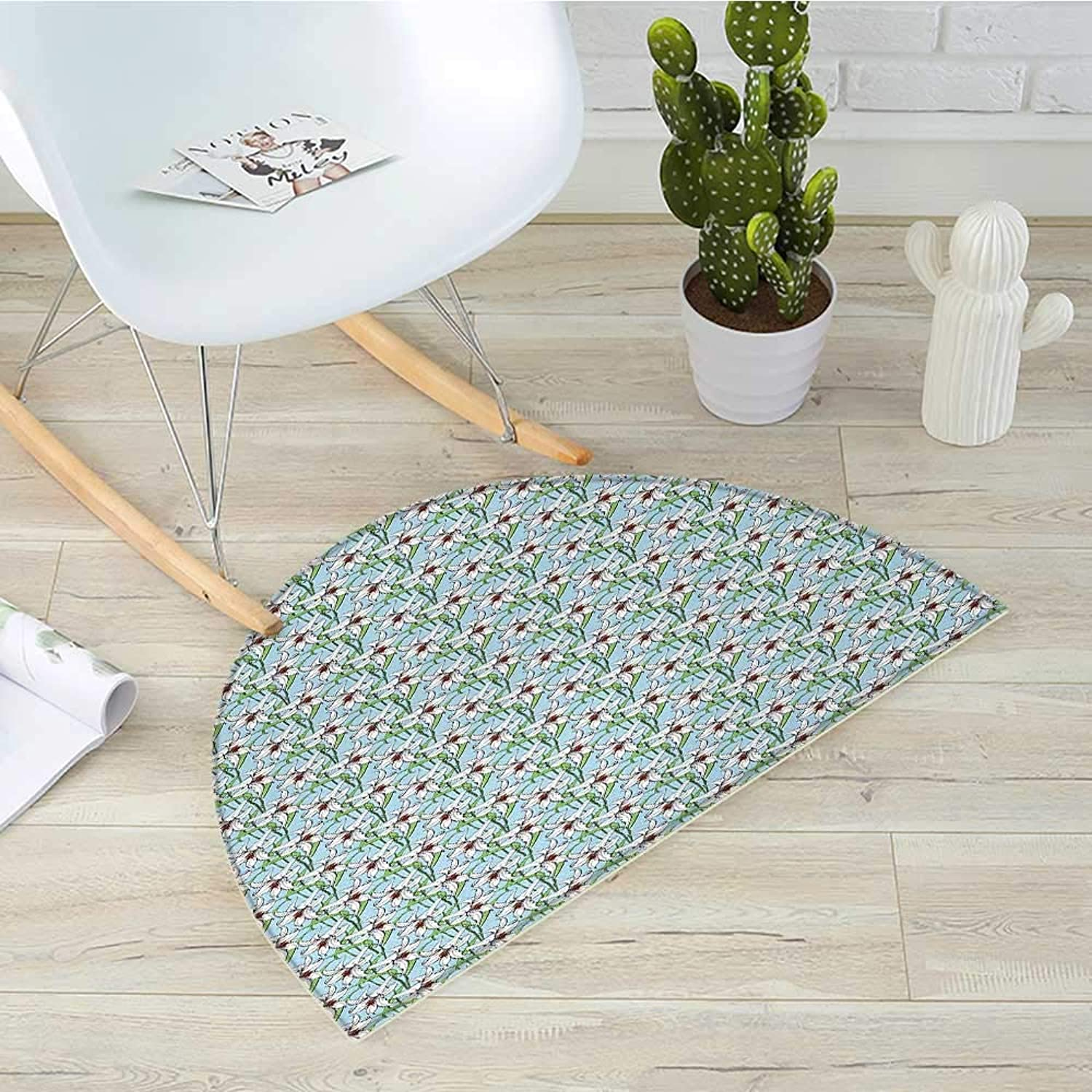 Flower Semicircle Doormat Pattern with Flourishing Artistic Lilies Garden Growth Spring Season Illustration Halfmoon doormats H 35.4  xD 53.1  Multicolor