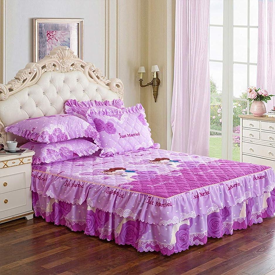 モチーフジーンズ変換キルト 装着 ベッド シート と ドロップダスト フリル 印刷 ベッドスカート 厚く ベッド カバー スーパーソフト マットレス プロテクター トッパー 二重層フリンジ付き-l 120x200cm(47x79inch)