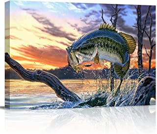T&H XHome Room Decor for Bedroom Kitchen Bathroom Painting Wall Art Print Poster Fierce Bass Fish Biting Fishhooks Canvas ...