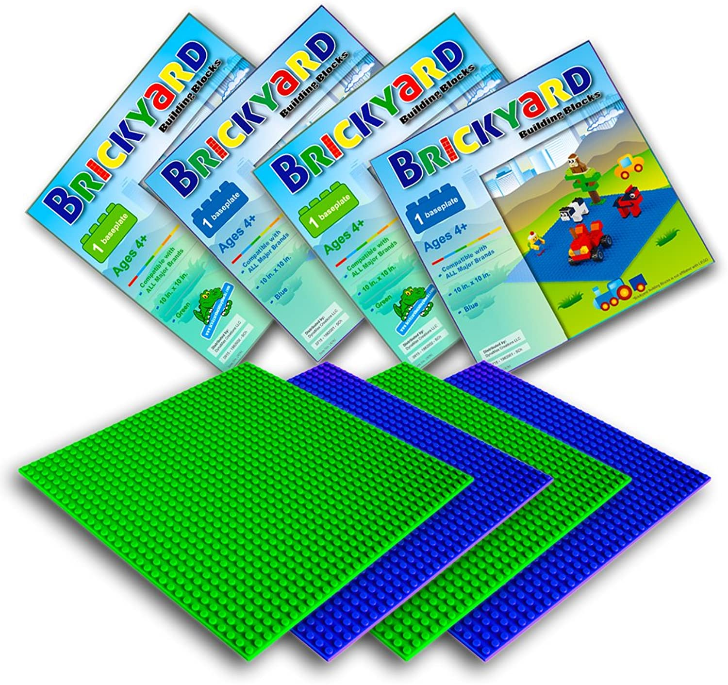 [Improved Design] 4 Baseplates, 10 x 10 Inches Large Thick Base Plates for Building Bricks by Brickyard, Perfect for Activity Table or Displaying Compatible Construction Toys (2 Green, 2 bluee)