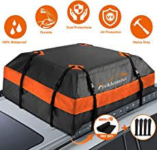 FIVKLEMNZ Car Roof Bag Cargo Carrier, 15 Cubic Feet 100% Waterproof Rooftop Cargo Carrier with Anti-Slip Mat + 8 Reinforced Straps + 4 Door Hooks Suitable for All Vehicle with/Without Rack