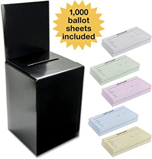 Large Ballot Box/Charity Box/Suggestion Box/Includes 1000 Entry Sheets/Use for raffles, Lead Generation, Collecting Business Cards, Voting, contests, suggestions (Black)